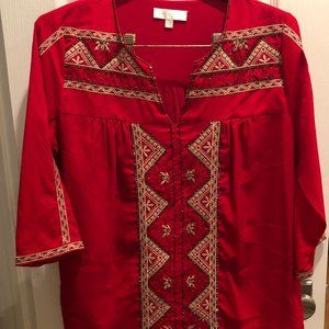 MM Couture beaded red tunic/top